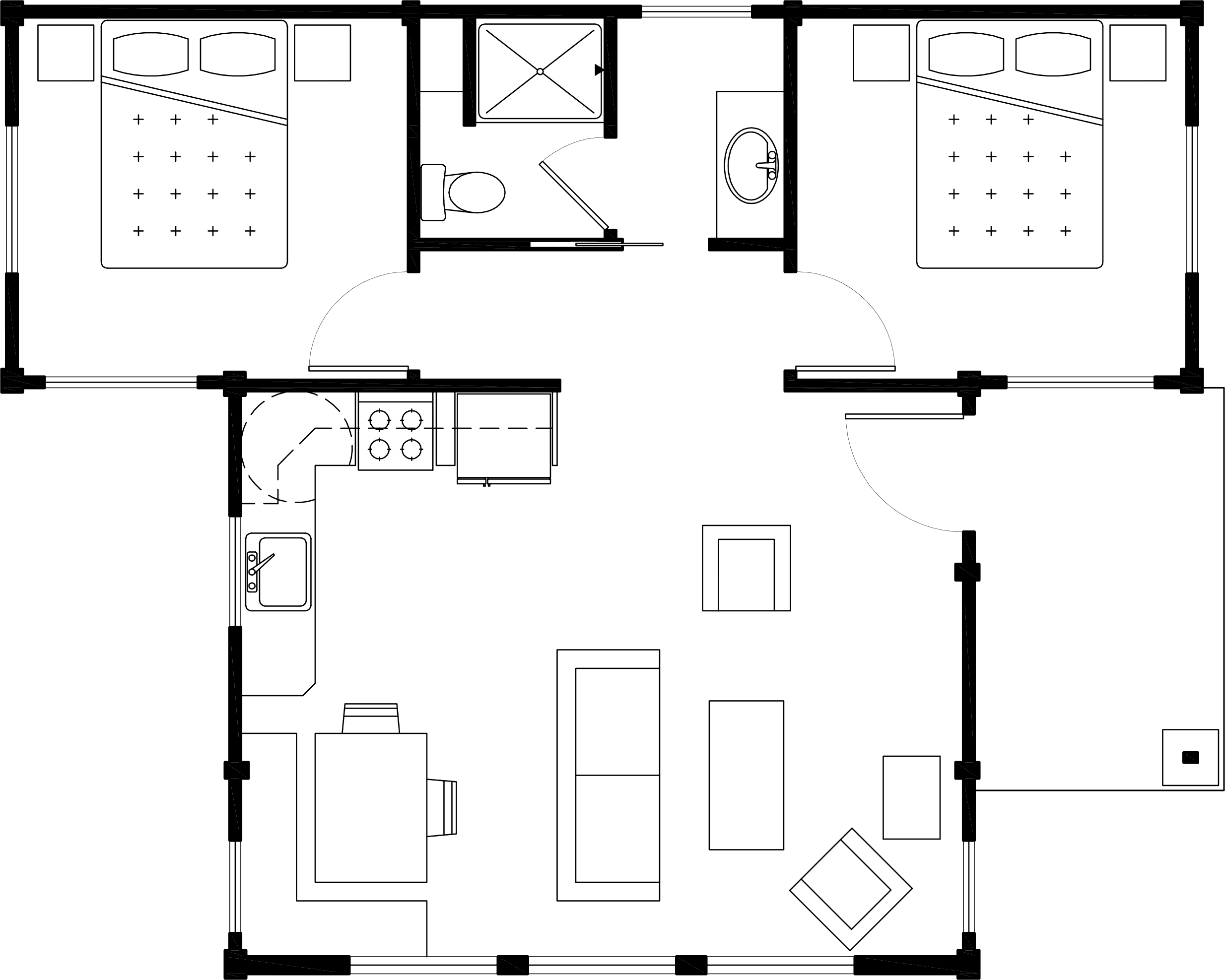 Two Bedroom Water View Cabin Floor Plan