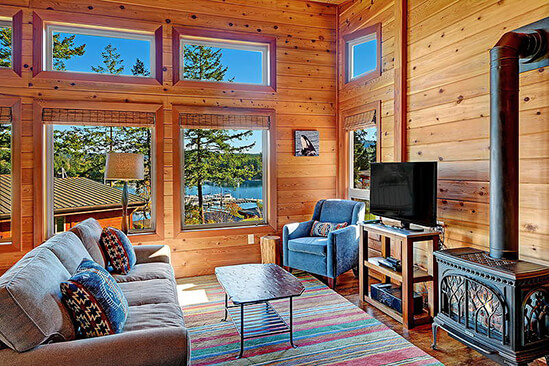Two Bedroom Water View King Cabin Living Area
