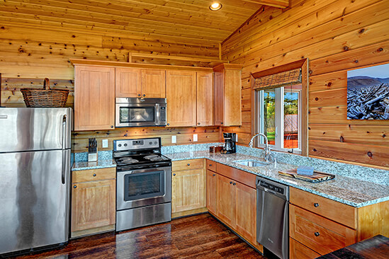 Two Bedroom Water View King Cabin Kitchen