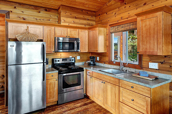 Two Bedroom Water View Cabin Kitchen