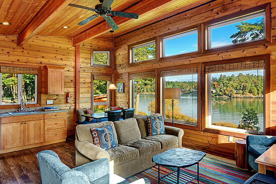 Two Bedroom Water View Cabin Living Area